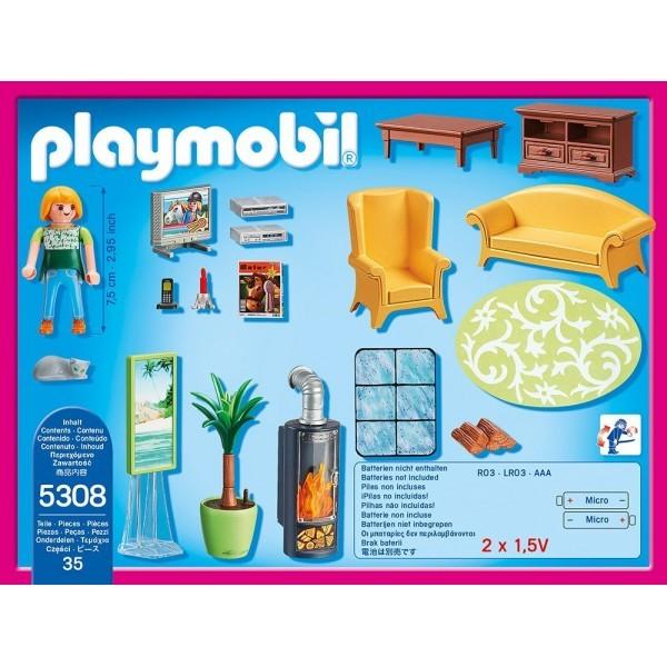 Playmobil Dollhouse Woonkamer met Houtkachel